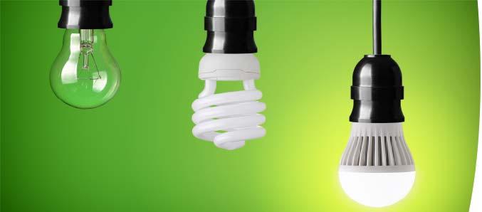 Effiziente Energiesparlampen und LED-Beleuchtung.