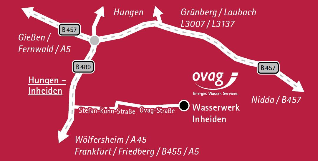 Wegbeschreibung Wasserwerk der OVAG in Inheiden.