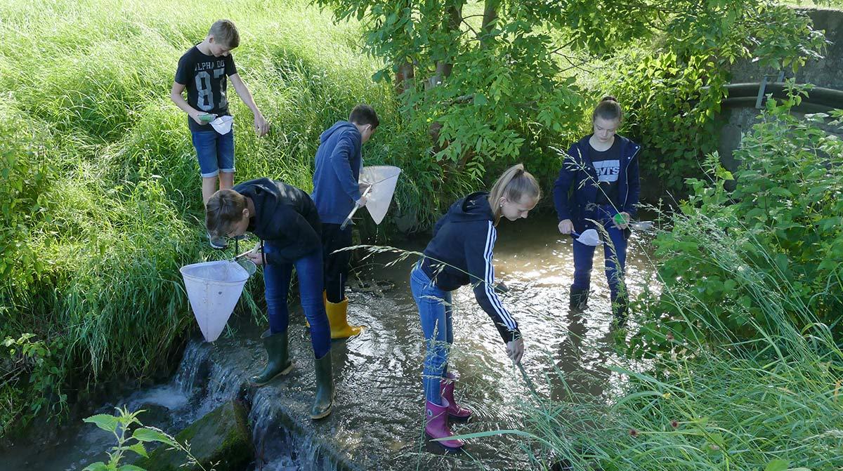 Schüler der Anne-Frank-Schule Linden auf der Suche mit Köchern und Lupengläsern nach Tieren am Dießenbach.
