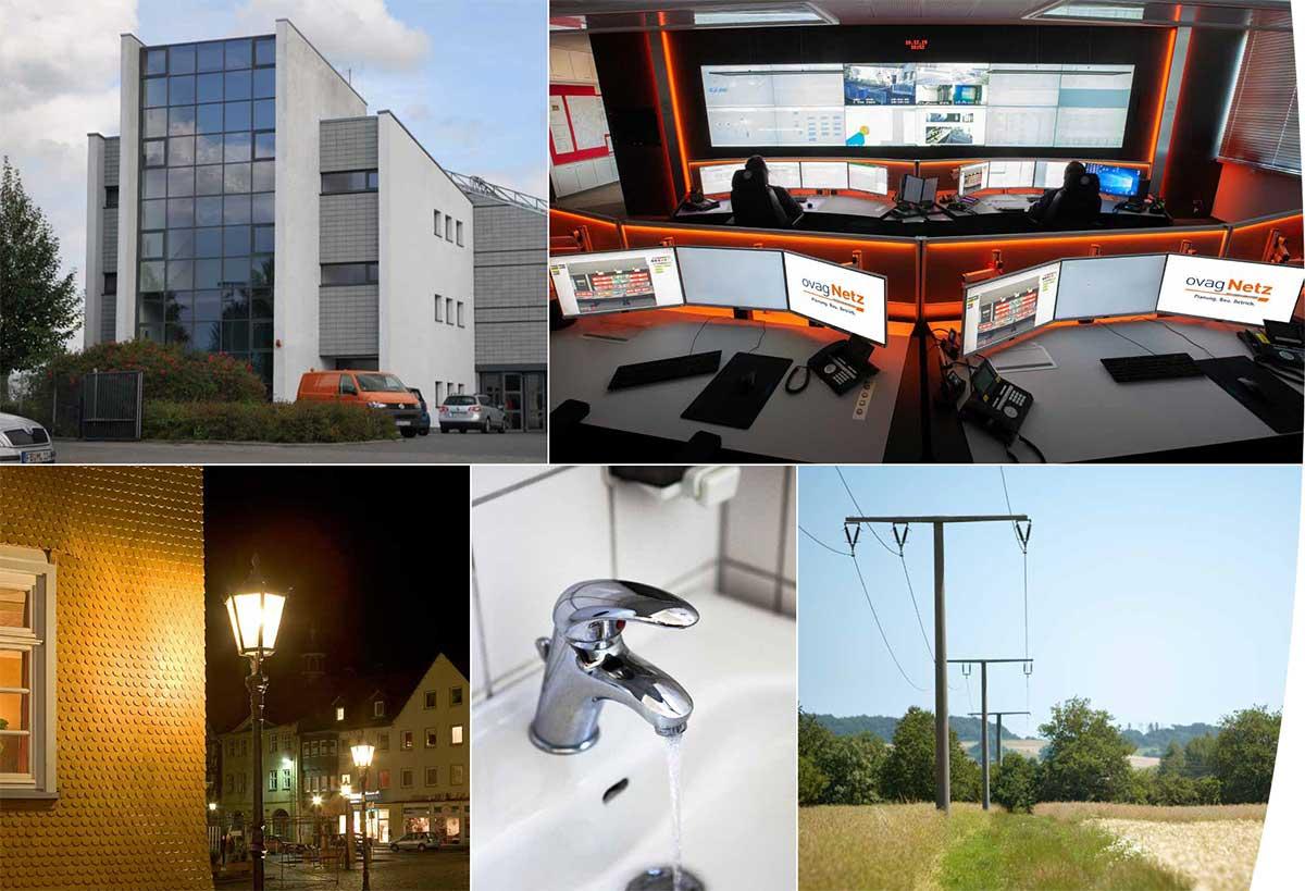 Bildcollage der OVAG Netzleitstelle in Friedberg