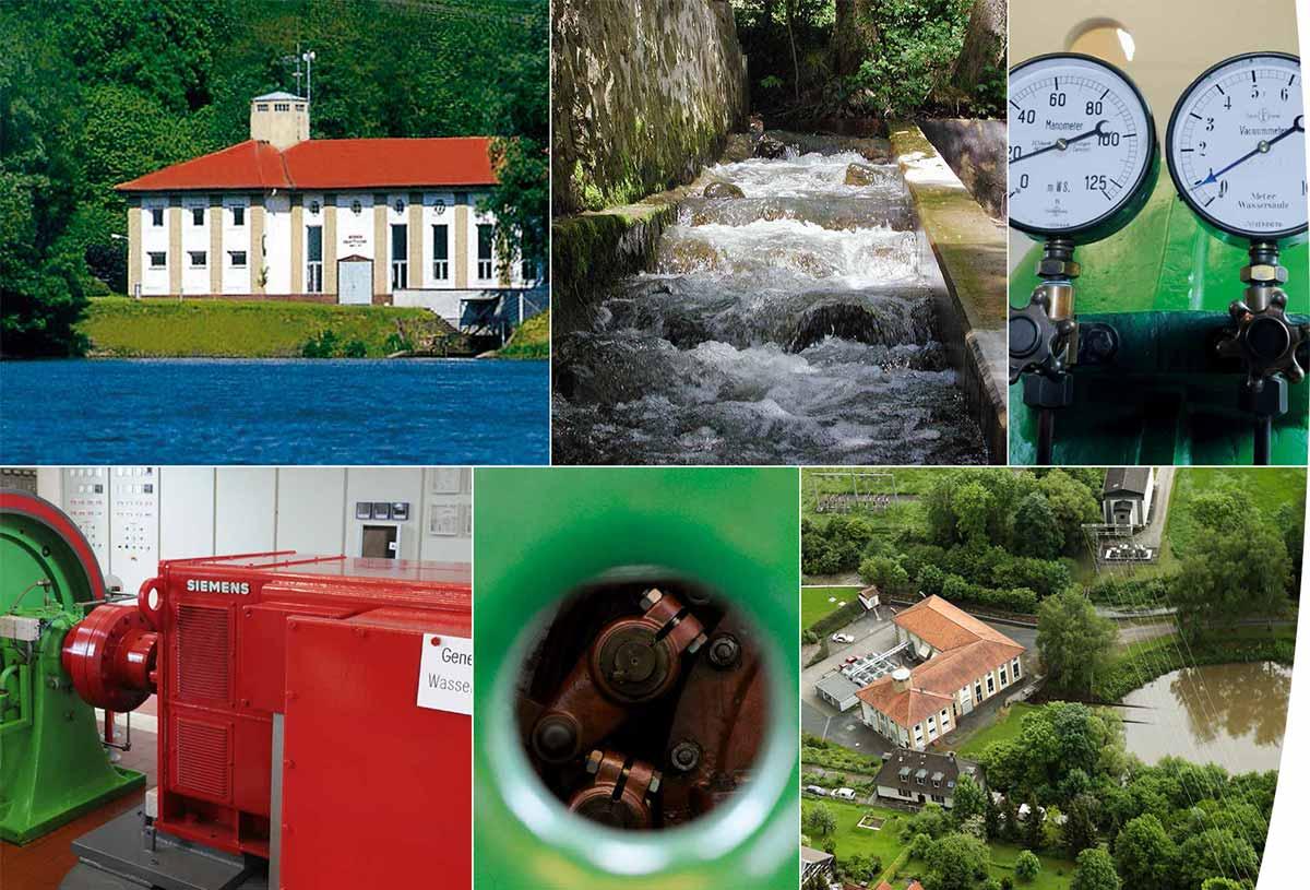 Bildcollage vom Wasserkraftwerk in Ortenberg-Lißberg