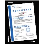 Das Zertifikat über unsere Zertifizierung gemäß DIN EN ISO 50001